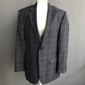 JOS A BANK Grey checkered sport coat blazer 42